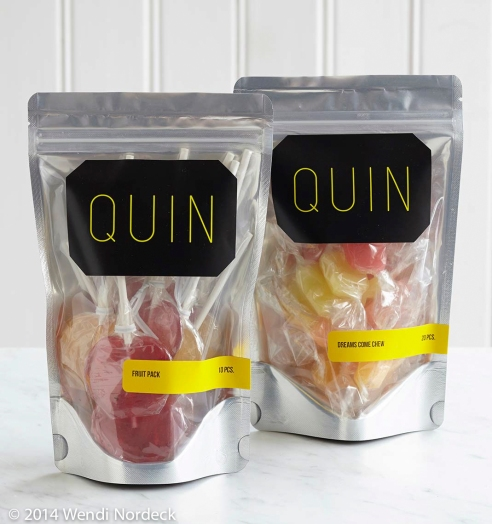 Quin lollipops and Quin Dream Come Chew candy from http://www.roux44.com