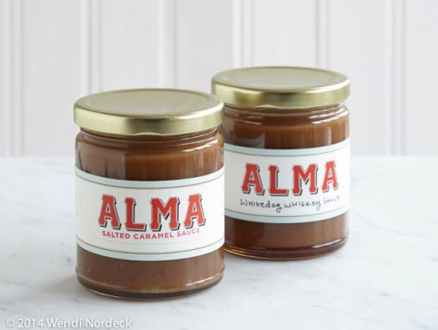 Alma Carmel Sauces, Salted Carmel and Whitedog Whiskey Carmel Sauce from http://www.roux44.com