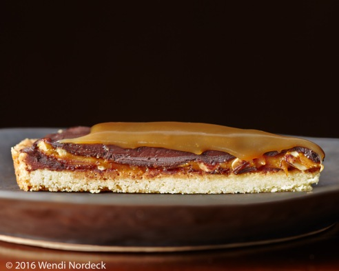 Chocolate peanut butter carmel tart from http://www.roux44.com